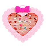 Golray 36 Pcs Little Girl Jewelry Rings Children Kids Rings Gift Jewelry Adjustable Rings in Box Girl Pretend Play and Dress up Rings