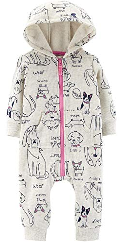 Carter's Baby Girls' 1 Piece Hooded Footies and Rompers (Heather/Dog Print, 9 Months)