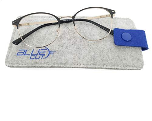 Blue Light Blocking Round Glasses Anti-Fatigue Non prescription Computer Glasses Prevent Headaches Gamer ()