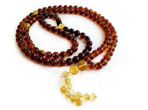 Baltic Amber 108 Buddhist Prayer Beads, Buddha Mala, Yoga Meditation Beads, 9.5mm, 64g, Tibetan Wrap Bracelet, Namaste Necklace, Multicolored Amber Gemstones