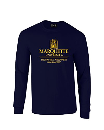 NCAA Marquette Golden Eagles Classic Seal Long Sleeve T-Shirt, Small, Navy ()