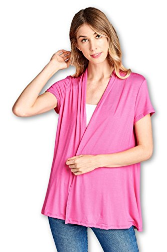 ReneeC. Women's Extra Soft Natural Bamboo Short Summer Cardigan - Made in USA (Small, Hot Pink)