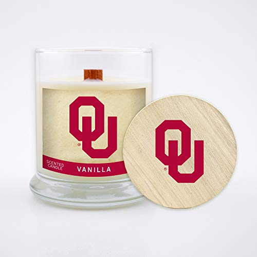 Worthy Promo NCAA Oklahoma Sooners 8 oz Vanilla Scented Soy Wax Candle, Wood Wick and -