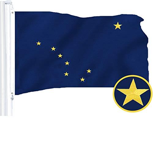 G128 - Alaska State Flag | 3x5 feet | Embroidered 210D - Indoor/Outdoor, Vibrant Colors, Brass Grommets, Quality - Flag Alaska