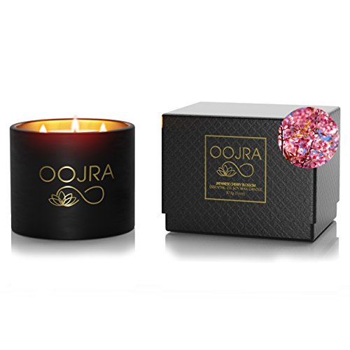 Scented Box (Oojra Scented Candles Japanese Cherry Blossom - Made with Essential Oils & Soy Wax - 3-Wick Candle 13 oz (370g) 75+ hours Includes Lid and Gift Box)