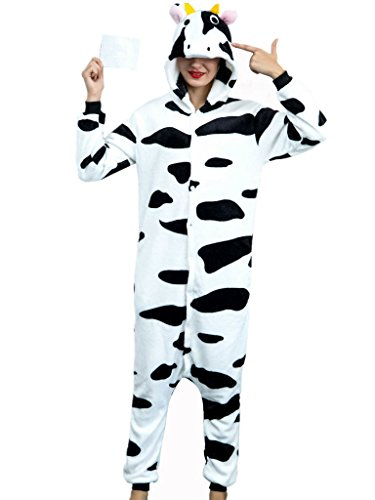 Adult Onesies For Women Cow Pajamas Costume Teens Girls Boys Men Animal Onsie PJ (Womens Cow Costume)