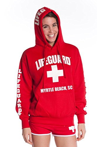 Official Lifeguard Ladies Myrtle Beach Hoodie Red Medium (Beach Sweatshirt)