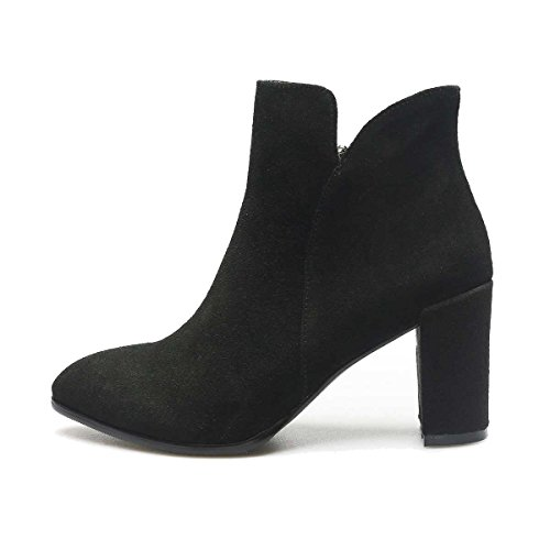 Suede Women's Ankle Mid Verocara Simple Almond Shoes C Style Toe Heel Leather black Genuine Boots Special HTndnFAzqx