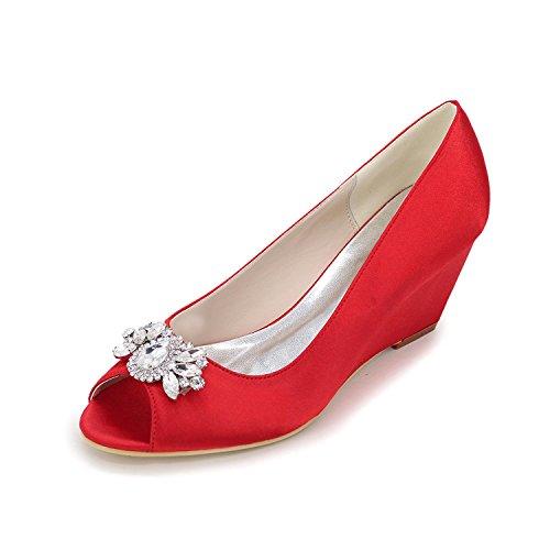 L@YC Zapatos de mujer Sandalias de tacón alto Peep Toe Boda / fiesta y noche de plata / azul / púrpura / blanco / rojo Red
