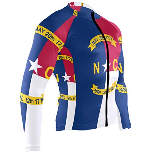 Men's Cycling Jerseys North Carolina State Flag Quick Dry Bike Jacket Long Sleeve Shirt Tops Zipper Pockets