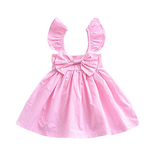 HUAER& Toddler Baby Floral Dress Girl Backless Fashion Sleeveless Vest Braces Skirt Sundress (70=(for 8-12 Months), Pink 2) ()
