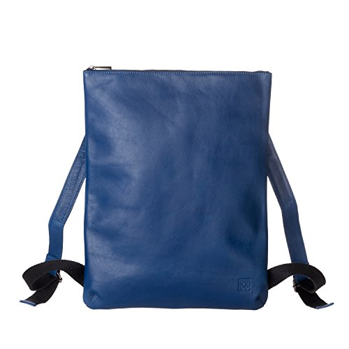 DUDU Herren Rucksack schmal und elegant in echtem, weichem Leder mit Reissverschluss Blau