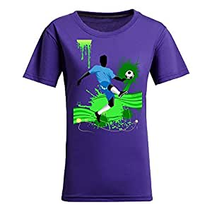 Brasil 2014 FIFA World Cup Short Sleeve T-shirt,Penalty Kick Background Womens Cotton shirts Purple