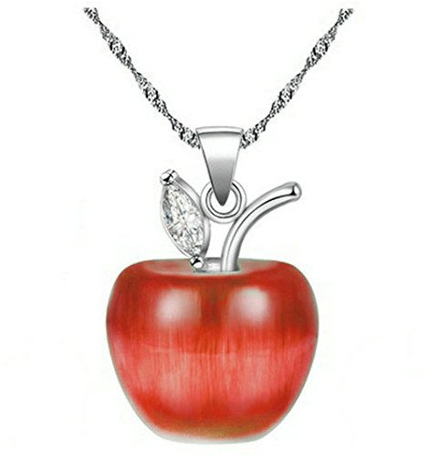 (Uloveido 8 Colors Apple Statement Necklace White Gold Plated, Candy-Red Apple Cubic Zirconia Pendant Necklace Earrings Jewelry for Women YL007-RED)