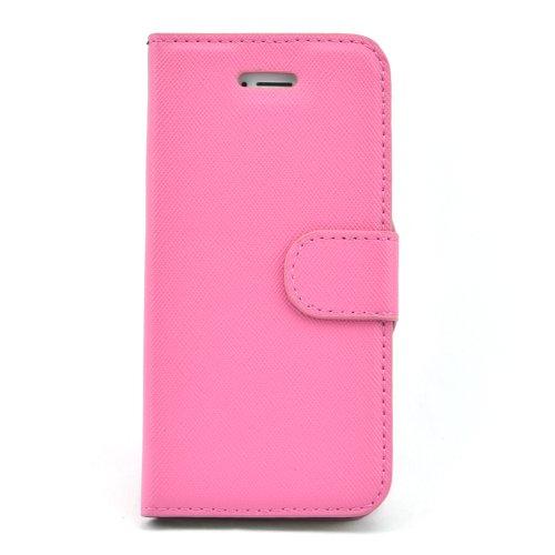 Apexel - Funda de piel sintética tipo cartera para Apple iPhone 5 y 5S (cierre magnético), diseño cruzado, color blanco rosa (b)