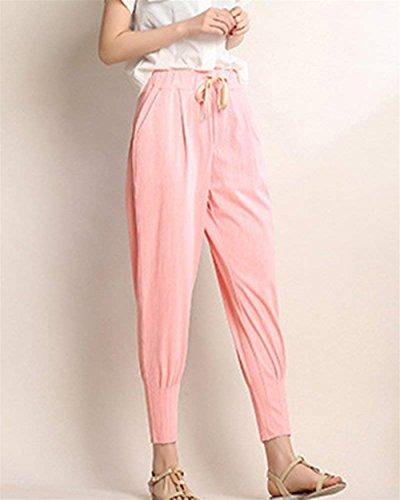 Di High Pantaloni Donna Slim Moda Monocromo Pantaloni Coulisse Elastica Stoffa Di Abbigliamento Eleganti Pantaloni Fit Ragazza Con Vita Harem Waist Moda Lunga Tasche Estivi Trousers Pink Chic Con nwBRfax