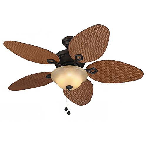 Bridgeford 44-in Aged Bronze Downrod or Close Mount Indoor/Outdoor Ceiling Fan with Light Kit