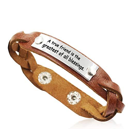 YOYONY A True Friend is The Greatest of All Blessings Love/Best Friends/Yoga Braided Genuine Leather Cuff Bracelets,Gifts for Women/Men. (A True Friend is The Greatest of All Blessings.)