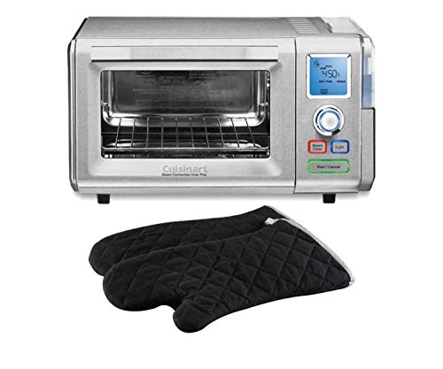Cuisinart 1800-Watt, 6-Slice Stainless Steel Convection Toaster Oven with Steam Bake and Broil Functions bundle with Lavish Home 2-Piece Quilted Cotton Heat/Flame Resistant Oversized Oven Mitts, Black