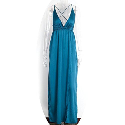 TheUniqueHouse Slip Satin Backless Sexy Long Dress Women Evening Party Elegant Maxi Vestidos,Green,L -