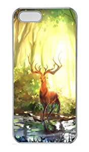 Customizable iPhone 5/5S Cases & Covers Fantasy Elk In The Forest TPU Rubber Silicone Case Compatible with iPhone 5s and iPhone 5 - Transparent