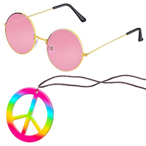 Beelittle Hippie Costume Accessories for Men and Women - Retro Hippie 60's Style Circle Glasses Peace Sign Necklace (Pink1)
