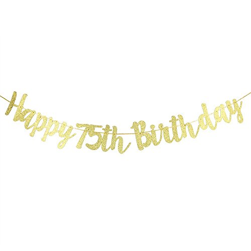 Karoo Jan Happy 75th Birthday Banner Gold Glitter Letters Wonderful 75th  Birthday Party Decorations Supplies