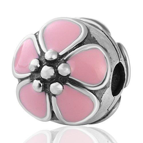 Flower Star Clip Charms Authentic 925 Sterling Silver Clip Lock Stopper Beads for European Bracelet (Blossom Pink Enamel)