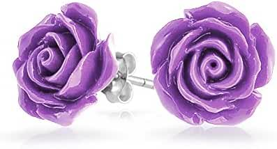 Bling Jewelry Silver Plated Rose Flower Stud Earrings 10mm