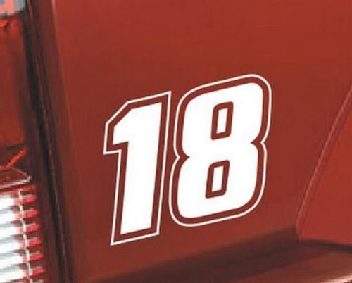 Nascar Number 18 Racing Race Vinyl Graphic Car Truck Windows Decor Decal Sticker - Die cut vinyl decal for windows, cars, trucks, tool boxes, laptops, MacBook - virtually any hard, ()