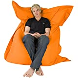 Hi-BagZ?? 4-Way Bean Bag Lounger - GIANT Outdoor Floor Cushion Bean Bags ORANGE - 100% Water Resistant Beanbag by Hi-BagZ??