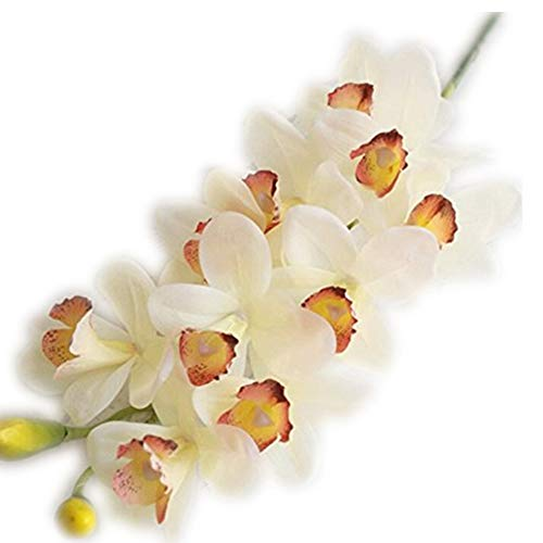 jiumengya 2pcs Real Touch Orchids Latex Cymbidium Large Size 10 Heads PU Orchid Flowers 6 Colors Wedding Centerpieces Decorative Flower (Cream)