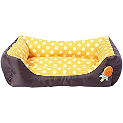Spring Fever Padded Pet Bolster Rectangle Bed Removable Orthopedic Lollipop Dog Cat Comfortable Bed Yellow S (17.713.84.7 inch)