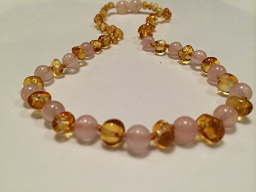 Rose Quartz Baltic Amber Teething Necklace for Babies  - Ant