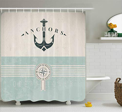 (Ambesonne Nautical Shower Curtain, Vintage Marine Design for Ocean Lovers Anchor Compass and Stripes, Cloth Fabric Bathroom Decor Set with Hooks, 70