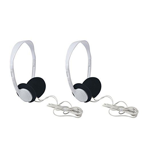 Uninex HE03WT On-Ear Stereo Headphones with 3.5mm Right Angle Plug, Light Weight, White, 2-Pack
