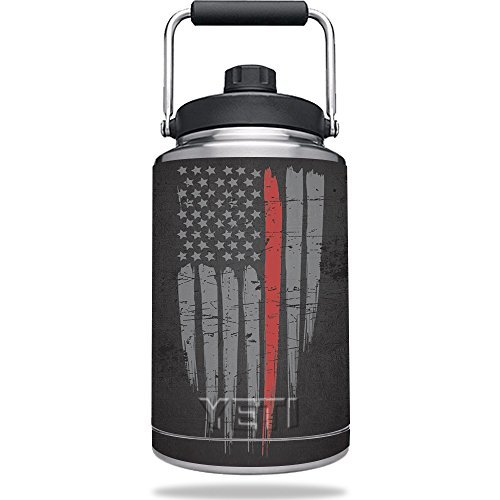 MightySkins Skin for Yeti One Gallon Jug - Thin Red Line | Protective, Durable, and Unique Vinyl Decal wrap Cover | Easy to Apply, Remove, and Change Styles | Made in The USA
