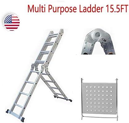 Escalera de extensión de aluminio de 15.5 pies para multiusos, ligera, plegable, con bandeja de herramientas EN131 estándar de seguridad: Amazon.es: Bricolaje y herramientas