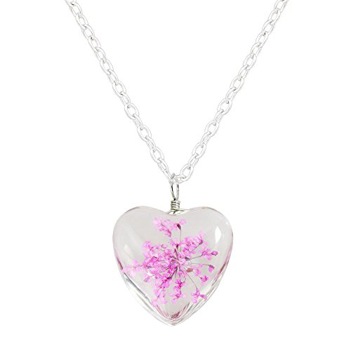 Miweel Heart Surface Dried Pressed Real Flower Transparent Resin Crystal Pendant - Sunglasses Australian Online