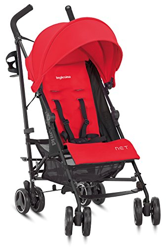 Inglesina Net Stroller – Lightweight Summer Travel Stroller – UPF 50+ Protection Canopy with Removable and Washable Seat Pad {Paprika/Red}