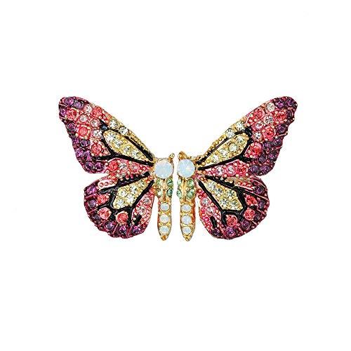 Purple Butterfly Earrings Color Rhinestone Butterfly Stud Earrings for Women ()