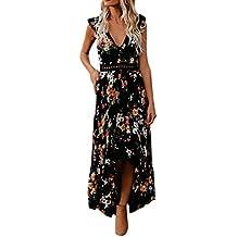 DongDong Hot Sale! Dress Floral Flower Deep V Neck Women Summer Sexy Backless Asymmertrical Lace Dress