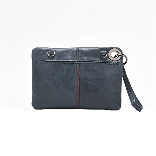 Hammitt Cotton Clutch Twill Lining Women's Blue Nash Shadow Gunmetal Small with Accents pqBCq