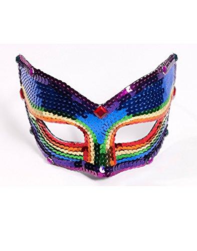 Gay Couples Costume (Forum Novelties Deluxe Sequin Half Venetian Mask, Rainbow)