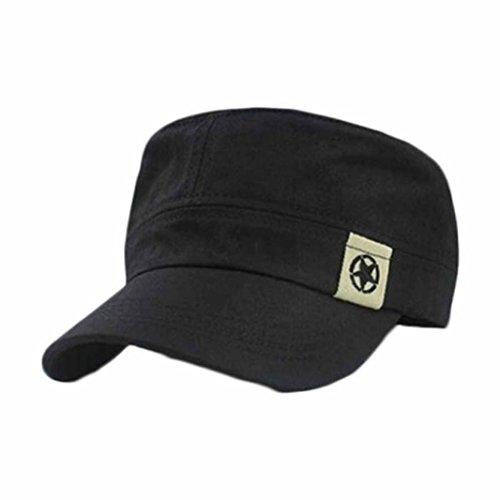 Botrong Flat Roof Military Hat Cadet Patrol Bush Hat Baseball Field Cap (Black)