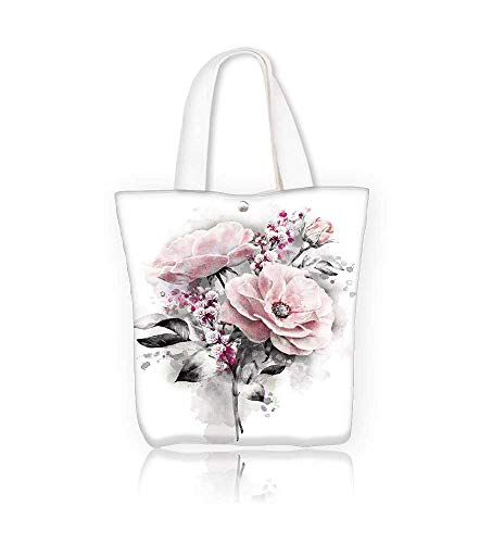 (canvas tote bagwatercolor flowers floral flower in pastel colors pink rose and gray leaf branch reusable canvas bag bulk for grocery,shopping W15xH14xD4.7 INCH)