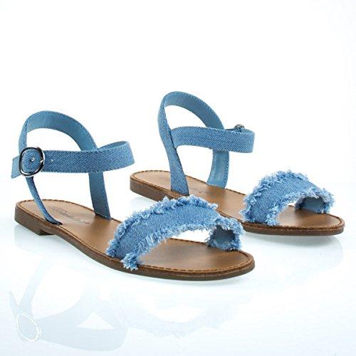 Sandalo Flat In Denim Con Bordo Strappato / Sfrangiato E Cinturino Regolabile Blu Denim