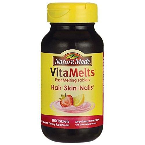 Nature Made Biotin (Nature Made VitaMelts Fast Dissolve Hair Skin & Nails (Biotin 2500 mcg + Vitamin C 60 mg) 100ct)