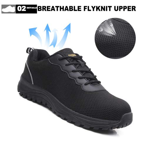 EXEBLUE Men\'s Safety Shoes Work Steel Toe Protective Shoes - Industrial & Construction Shoes Mesh Breathable Reflective Strip Black