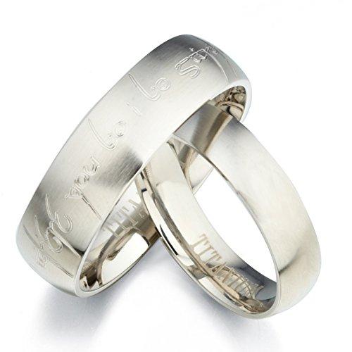 Gemini Personalized Elvish Tengwar Matt His & Her Matte Matching Titanium Wedding Rings Set, Valentine's Day Gift US size 4-16 (half sizes available)